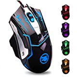 USB Computer Mouse Wired, Light Up Mouse for Laptop with RGB 7 Colors Breathing Light,4 DPI Adjustable up to 3200, 6 Buttons, Ergonomic Gamer PC Mouse for Windows/Mac/Sega Dreamcast
