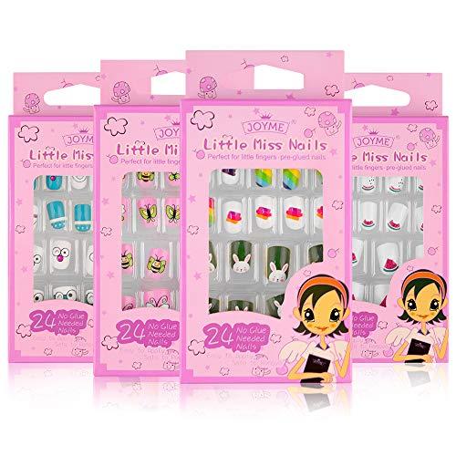 EBANKU 96 Stück Nägel Zum Aufkleben für Kinder, Selbstklebende Künstliche Fingernägel Set Falsche Kunstnägel für Mädchen Kleinen Händen Damen
