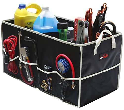 "EPAUTO Collapsible Cargo Trunk Storage Organizer Container for Car/Truck/SUV/Minivan, Black (24.75"" x 12.75"" x 13.4"")"
