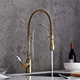 KunMai Single Handle High Arc Swiveling Dual-Mode Pull-Down Sprayer Kitchen Sink Faucet with Porcelain Handle in Gold&Chrome,Lead-free Solid Brass cUPC Certified Pre Rinse Faucet