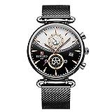 CXJC Reloj mecánico de acero inoxidable adecuado for regalos de vacaciones for hombres, reloj de negocios multifuncional a prueba de agua 3ATM, dial redondo de 44 mm (Color : Negro)