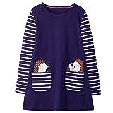 VIKITA Mädchen Baumwolle Langarm Streifen Tiere T-Shirt Kleid EINWEG JM7667 3T