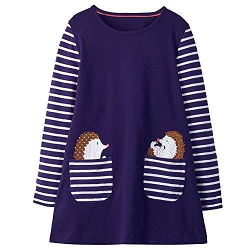 VIKITA Mädchen Baumwolle Langarm Streifen Tiere T-Shirt Kleid EINWEG JM7667 7T