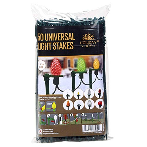 Holiday Joy - 50 Universal Light Lawn Stakes for Holiday String Lights on Yards, Driveways & Pathways - 8.5 inch Tall - New and Improved Model (50 Pack)