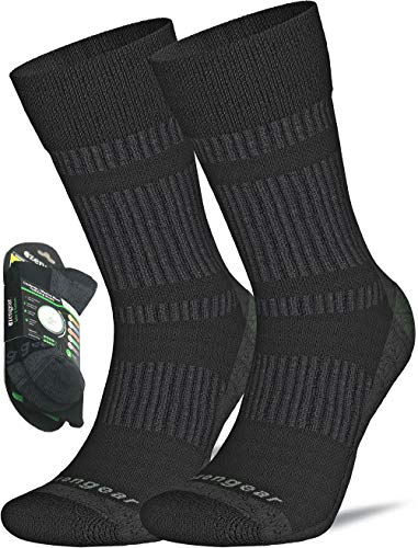 Calcetines de Senderismo y Trekking de Lana Merino y Coolmax para Hombres y Mujeres - Ciclismo - Punta sin Costuras - Acolchado - Transpirable y Suave (Negro (1 Par), M (EU 41-44; UK 7.5-10))