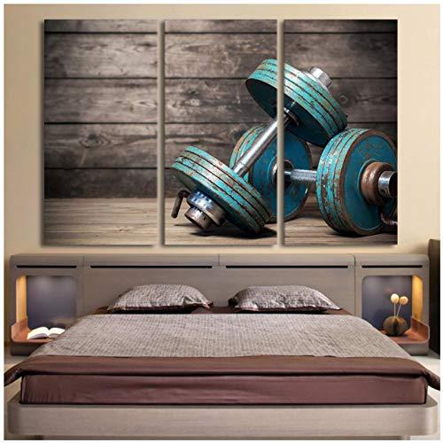 Impresión de arte de la lona Mancuernas fitness culturismo gimnasio pintura arte de la pared 12x24 pulgadas 3 piezas sin marco