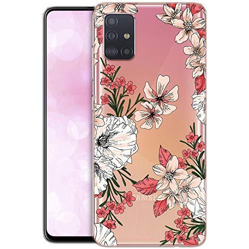 OOH!COLOR Custodia Compatibile con Samsung Galaxy A71 Cover Silicone Trasparente Chiaro Cristallo Morbido Anti-Scratch Bumper Case per Samsung A71 con Disegni Fiori pastelli (MONOUSO)