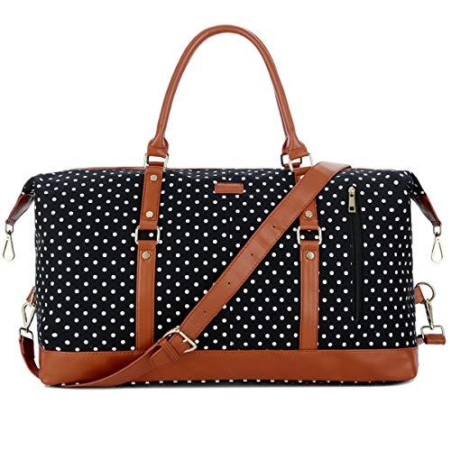 BAOSHA HB-14 Women Travel Duffel Holdall Bag Weekend Overnight Carry On Bag Hand Luggage Bags (Black Polke Dot)