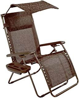 Bliss Hammocks Zero Gravity Chair with Covered Bungee, Canopy and Side Tray, Brown Jacquard