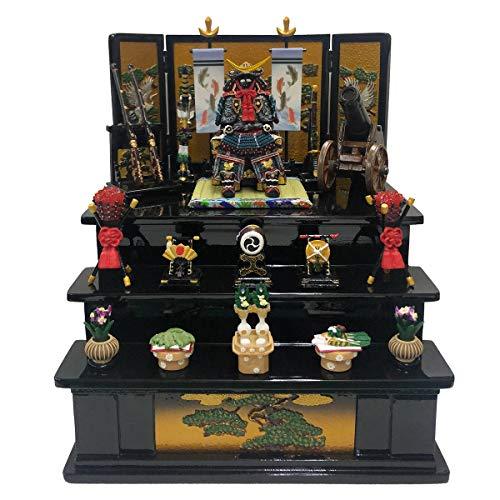 五月人形 伊達公鎧中青三段飾り大松に鶴(黒)五月人形 鎧飾り コンパクト 鎧 お祝い 端午の節句 おしゃれ ミニ 5月人形