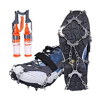 Mgotu 10 Spikes Women Men Kids Stainless Steel Anti-Slip Shoes Boots Crampons Traction Cleats, Ice Snow Grips with Ice Fishing Safety Picks for Winter Hiking Fishing Climbing Mountaineering