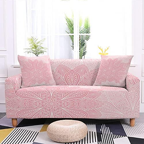 WXQY Funda de sofá elástica Funda de sofá con patrón de Plumas Rosa Funda de sofá de niña Linda decoración del hogar Funda de sofá Antideslizante A3 4 plazas