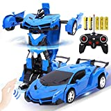 AMEOW Remote Control Car Transform Robot Gesture Sensing Toys, RC Cars Robot for Kids, One-Button Deformation and 360°Rotating Drifting, Best Gift for Boys and Girls 1:18 - (Blue)