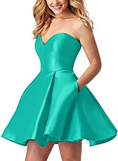 Botong Sweetheart Short Homecoming Dresses Strapless Open Back Prom Dress with Pockets