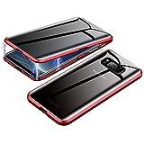 Jonwelsy Anti-Spy Funda para Samsung Galaxy S8 Plus, 360 Grados Proteccion Case, Privacidad Vidrio Templado Anti espía Cover, Adsorción Magnética Metal Bumper Cubierta para Galaxy S8+ (Rojo)