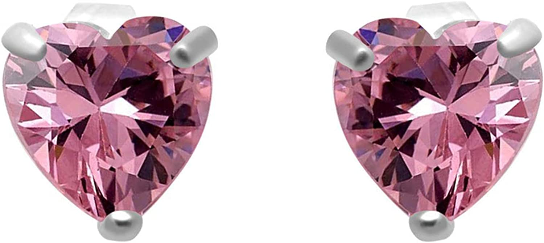 Jewelili Heart Shape Stud Max 89% OFF Earrings 10K Sale Pink White Cubic Zir Gold