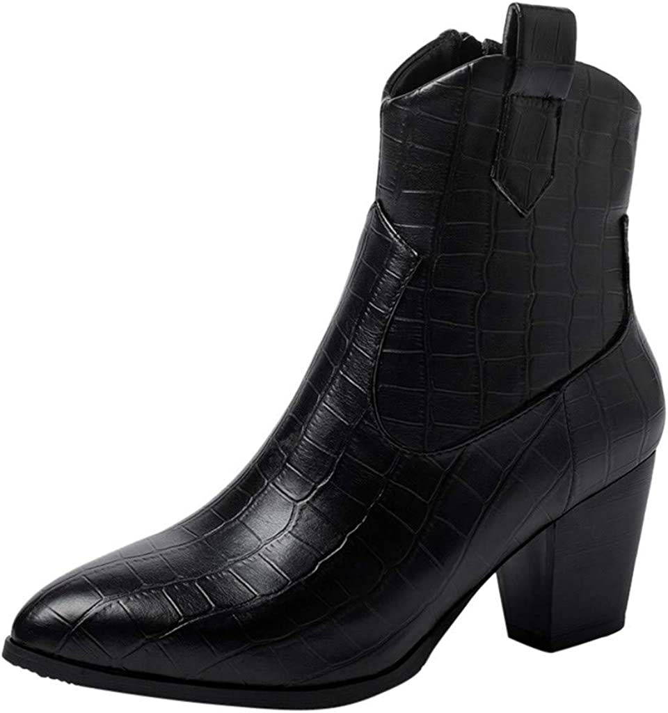 Western Cowboy Distressed Boot - RQWIEN Womens Ankle Boots Slip on Pointed Toe Snakeskin Chunky Stacked Mid Heel Booties