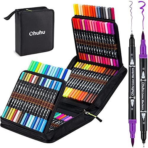 100 Farben Dual Brush Pen Set, Ohuhu Pinselstifte Filzstifte Set, Wasserbasis Doppelfilzstifte Marker Set für Erwachsene und Kinder Handlettering Kalligraphie Zeichnung Skizzieren Malbuch Stifte