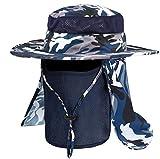 Idefair Sombrero de Pesca Mascarilla al Aire Libre, Sombrero para el Sol UPF 50+ Sol Protección UV Respirable ala Ancha con Cara Cubierta de Solapa de Cuello para Senderismo Viaje Camping