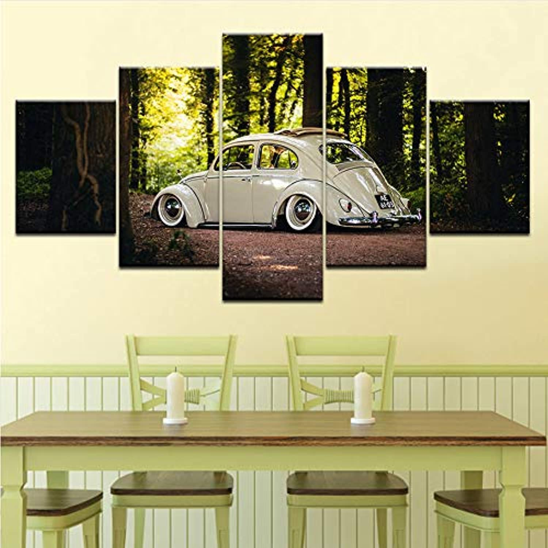 Wiwhy Leinwand Malerei Wandkunst Modulare Wohnzimmer Wohnkultur Poster 5 Stücke Volkswagen Beetle Auto Hd Druckt Wald Landschaft Bild,30X40 60 80Cmwiwhy