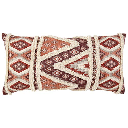 Amazon Brand – Stone & Beam Modern Patterned Throw Pillow - 12 x 24 Inch, Multicolored Red