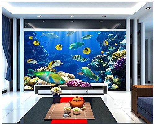 Mznm Custom 3D Photo Wallpaper 3D Muurschilderingen Behang aan de muur De Kleine vis Coral Aquarium In de onderwaterwereld muur Decoreert Is 400 x 280 cm.