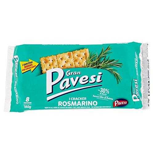 CRACKER AL ROSMARINO - L'inimitabile cracker Gran Pavesi, ancora più croccante, arricchito dal sapore delicato del rosmarino ed il 30% di grassi in meno PER LA TUA MERENDA - Ideali come snack al mattino o come merenda nel pomeriggio: un pacchetto di ...