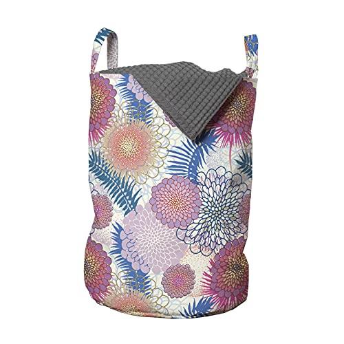 ABAKUHAUS Dalia Bolsa de lavandería, Flores coloridas de México, Cesta con asas Cierre de cordón para las lavanderías, 33 x 33 x 49 cm, Multicolor