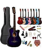 アコースティックギター 初心者18点セット 38インチ 入門練習ギター 学生 子供 大人用 初級ギターセット 初心者入門用 アコギ クラシックギター 弦 チューナー ハモニカ・木製ギタースタンド・ソフトケース・簡易教則(日本語)付き