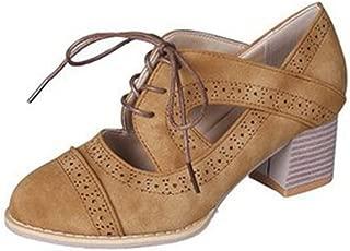 Bonrise Women's Lace Up Platform Oxford Pump Cutout Perforated Chunky Mid Heel Vintage Dress Sandals Shoes