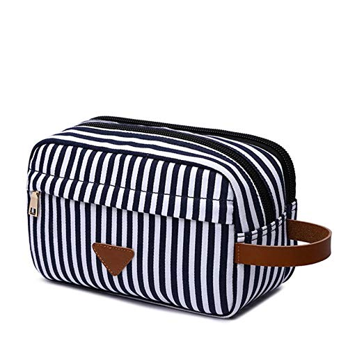 Neceser de Viaje,Bolsa de Maquillaje de Viaje Hombres viajes lienzo kits de afeitado cosmético maquillaje organizador mujeres bolso de aseo con doble compartimentos de belleza caso ( Color : White )