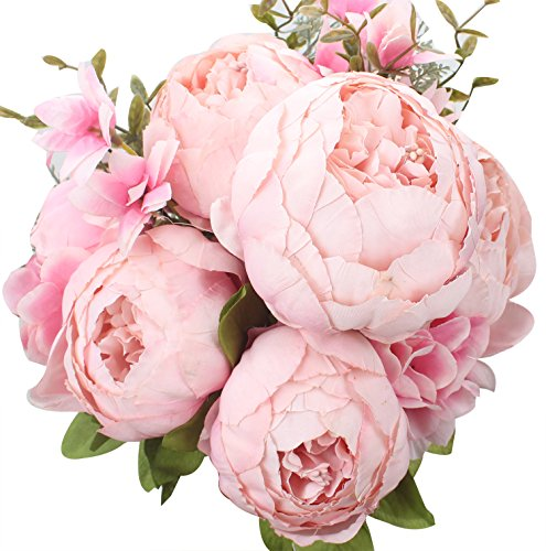 XIUER Vintage Artificial Flowers Fake Peony Flowers Bouquet Glorious Wedding Home Bridal Decoration (Pink)
