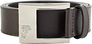 Versace Collection Men's Medusa Steel Buckle Leather Belt Brown