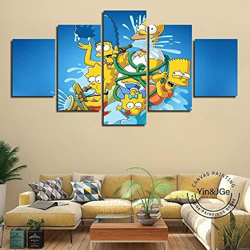 Moderne Wand Modulare Kunstwerke 5 Stücke Leinwand Kunst Simpson Hd Poster Und Drucke Anime Bild Malerei Rahmen Dekoration Kinderzimmer(size 2)
