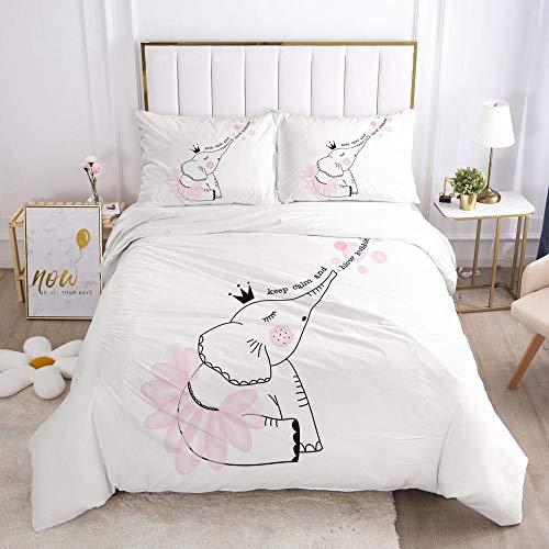 Påslakanset Vit mode djur elefantMikrofibertyg med silkesliknande känsla-innehåller 1 x sängkläder och 2 örngott - Supermjukt med dragkedjestängningsdesign 240x220cm