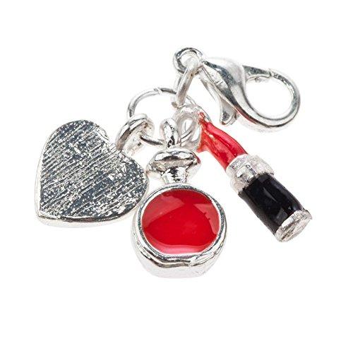 Fantástico colgante de clip de trípode para pulseras con lápiz labial, botella de perfume y formas de corazón por VAGA.