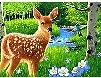 クロスステッチキットかわいい鹿の森11CT刻印針先プリントパターンキット家の装飾のためのクロスステッチ縫製刺繍