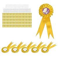 ブリキバッジピン、パーティーの集まりのためのイースターのための誕生日バッジ耐久性のある100セット(黄)