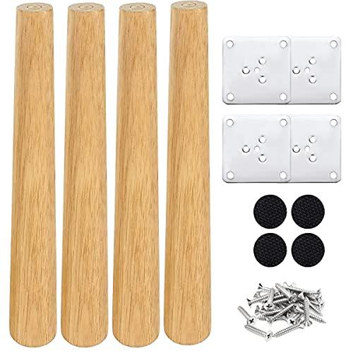 Drenky 4 piezas 25cm patas de madera para muebles patas de mesa de madera maciza cónica patas de sofá Derecho patas de repuesto para muebles con placa de montaje tornillos y protector antideslizante