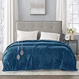 Beautyrest Plush Electric Blanket Throw for Cold Weather Multi-Level Heat Settings Controller, Secure Comfort Low EMF Technology and Auto Shut Off Safety, King, Teal