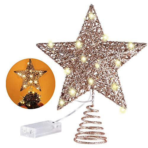 MAIAGO 10 Inches Christmas Tree Topper with 20 LED Lights, Rose Gold Glittered Metal Christmas Tree Decorations for Home Party Holiday Winter Xmas Decorations, Warm White