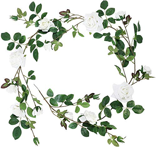 ZZYLHS Artificial white rose vine artificial flower rattan decoration indoor living room wall hanging plastic vine rose wall hanging basket