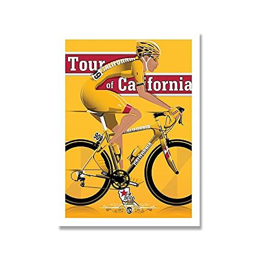 YINGFUN Deportes Bicicleta Ciclismo Lienzo Pintura Vintage Tour Paisaje Francia Gran Bretaña Ciclista Cartel de la Pared Imprimir imágenes Decoración del hogar (Color : F, Size : 40x50cm No Frame)