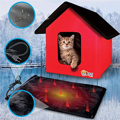 Extreme Consumer Products New 2020 Indoor/Outdoor - RED - Cat House with Heated Cat Bed - 2 Doors - No Slip Feet and Stake Ties for Secure Placement