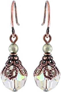 Luminous Green Earrings with Swarovski Crystals and Copper-Colored Filigree