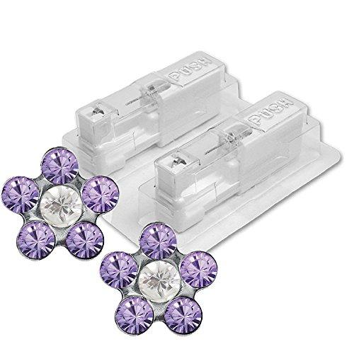 1 Paar STUDEX Medizinische Ohrstecker Blume Tanzanite-Crystal
