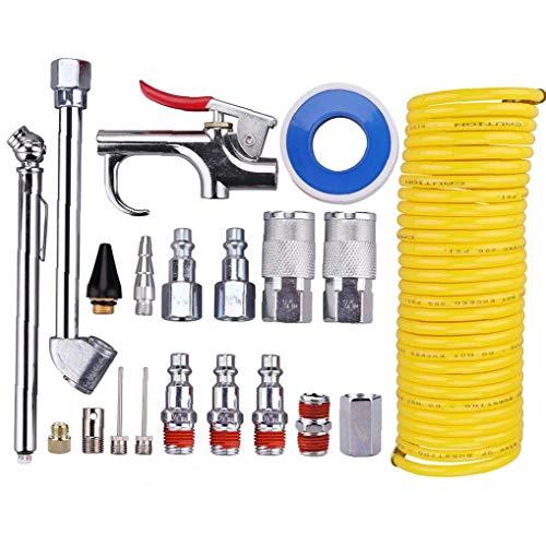 20 piezas de compresor de aire Kit de accesorios, 1/4 de pulgada 24,6 bomba de aire de nylon en espiral del pie del aerógrafo manguera del compresor Boquilla Kit