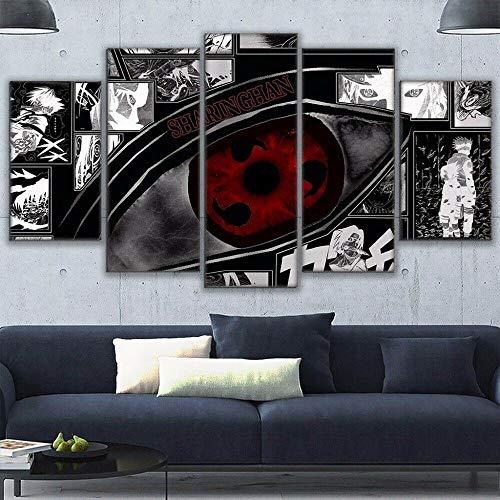 IIIUHU Bilder Wandbild 150x80cm Vlies - Leinwand Bild XXL Wandbilder Wohnzimmer Wohnung Deko Kunstdrucke 5 Teilig Leinwand Bild -Naruto Sharingan Eye Anime Hd Gedruckt Wandkunst