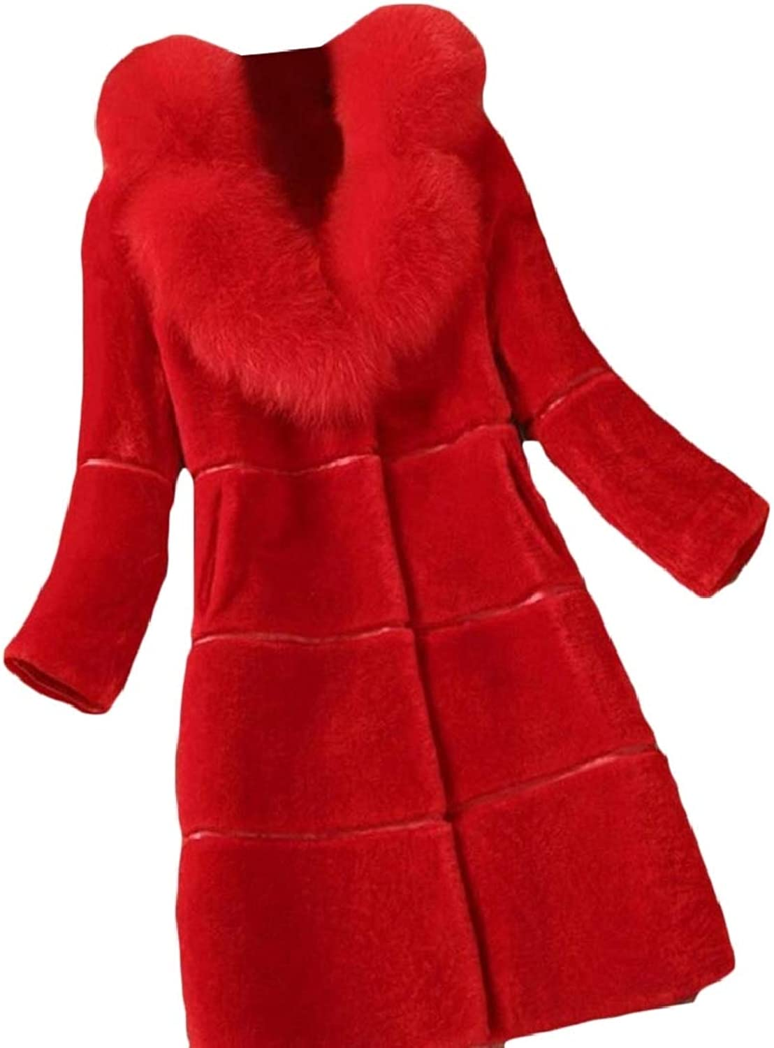 QDCACA Womens Faux Fur Coat Parka Jacket Long Trench Thicken Outerwear Overcoat