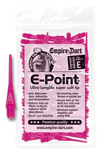 Empire Dart Softdartspitzen, E-Point, 2BA, lang, neonpink, 100 Stück, 20682